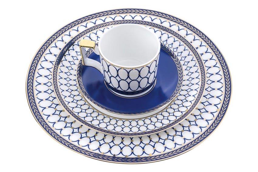 Bộ đĩa ăn, chén vẩy cá xanh navy